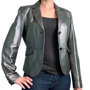Philippe Adec silver leather two-button Blazer